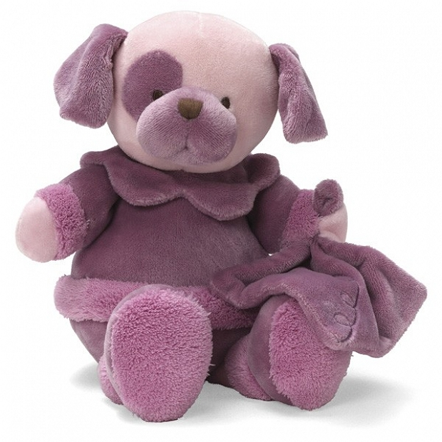 美國Baby Gund - La Collection be'be'系列 的超柔軟  紫紅色覆盆子甜心 小狗玩偶禮盒裝 bb嬰兒禮物