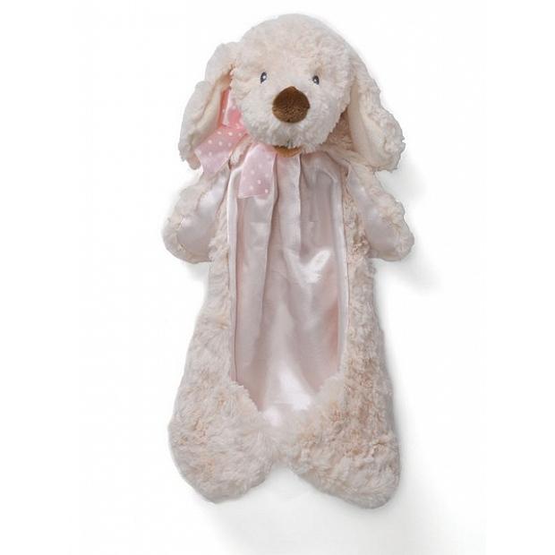 Baby Gund 粉色絲帶蝴蝶結的小狗安撫巾