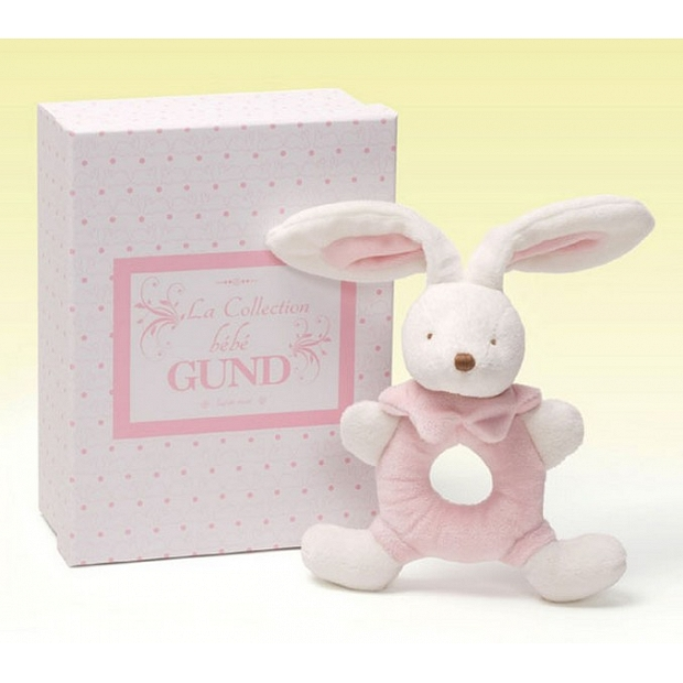 Baby Gund 粉色兔子造型搖鈴BB嬰兒禮物香港
