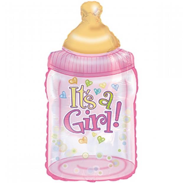 ADD-BA4 12吋 粉色奶樽型汽球