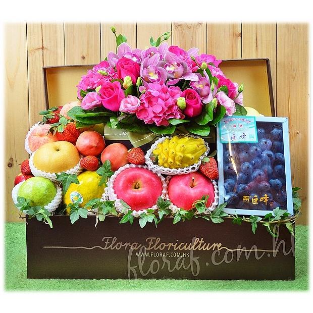 生果加花 :日本巨峰提子禮盒裝 + 鮮花禮盒 水果花籃訂購